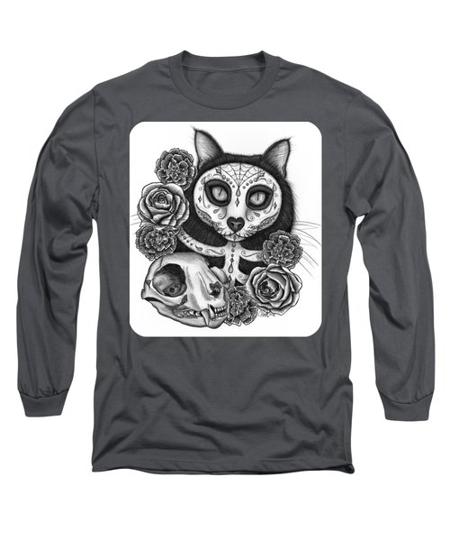 Long Sleeve T-Shirt featuring the drawing Day Of The Dead Cat Skull - Sugar Skull Cat by Carrie Hawks