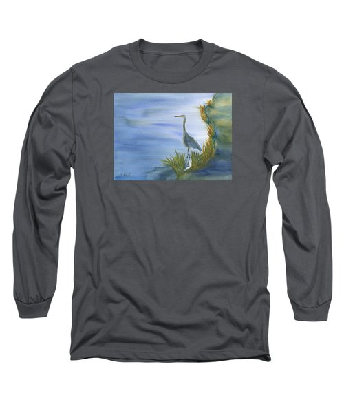 Daybreak With A Great Blue Heron  Long Sleeve T-Shirt by Frank Bright