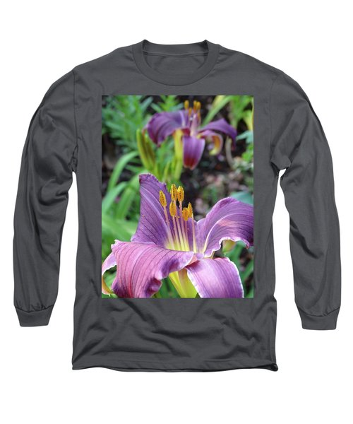 Daylilies In Purple Long Sleeve T-Shirt by Rebecca Overton