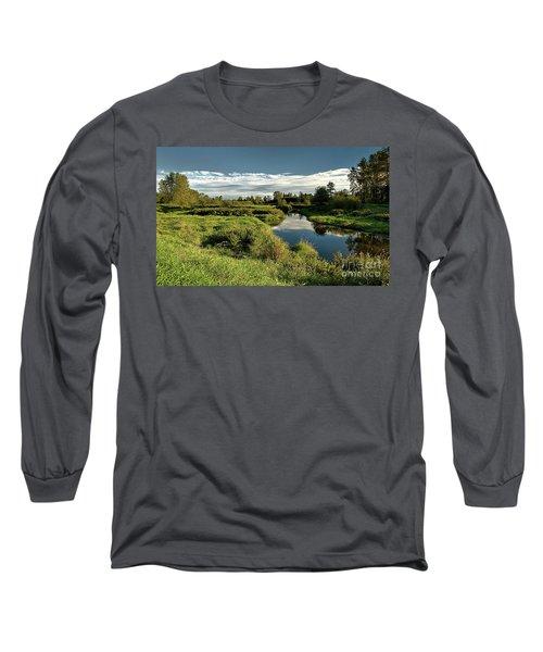 De Boville Slough At Pitt River Dike Long Sleeve T-Shirt by Rod Jellison