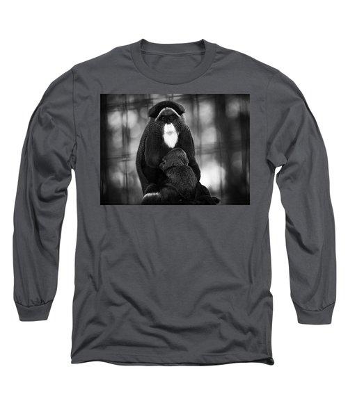 De Brazza's Monkey Long Sleeve T-Shirt by Jason Moynihan