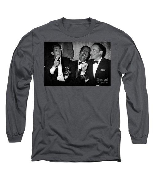 Dean Martin, Sammy Davis Jr. And Frank Sinatra Laughing Long Sleeve T-Shirt