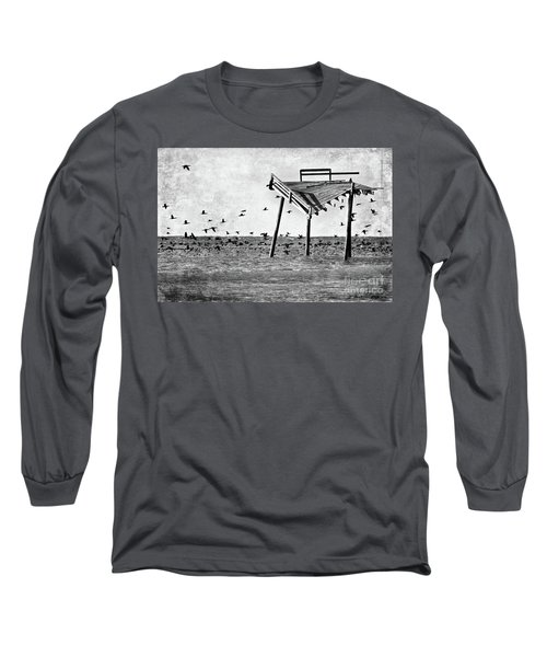 Long Sleeve T-Shirt featuring the photograph Death Of A Friend - Frisco Pier Outer Banks Bw by Dan Carmichael