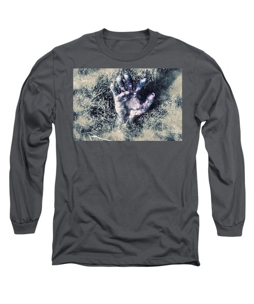 Decaying Zombie Hand Emerging From Ground Long Sleeve T-Shirt