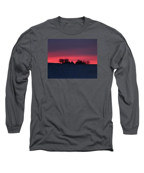 December Farm Sunset Long Sleeve T-Shirt by Kathy M Krause