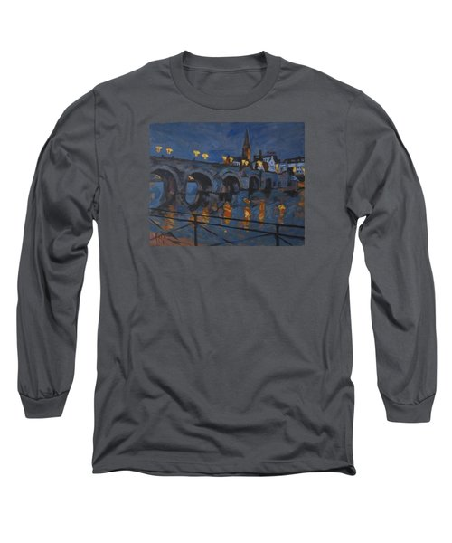 December Lights Old Bridge Maastricht Acryl Long Sleeve T-Shirt by Nop Briex