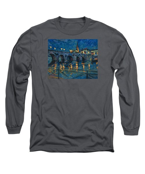 December Lights Old Bridge Maastricht Long Sleeve T-Shirt by Nop Briex