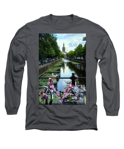 Long Sleeve T-Shirt featuring the photograph Canal And Decorated Bike In The Hague by RicardMN Photography