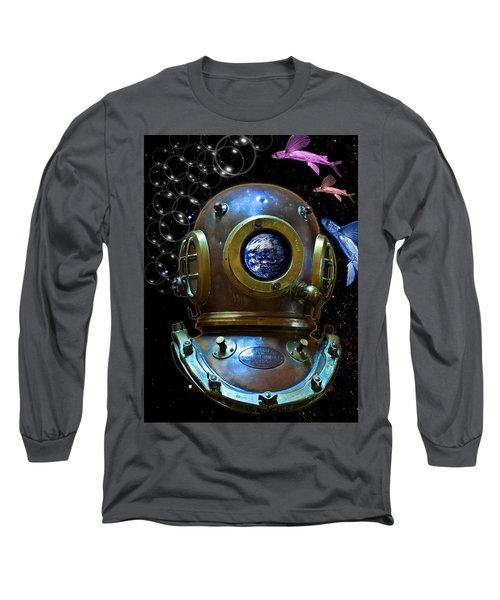 Deep Diver In Delirium Of Blue Dreams Long Sleeve T-Shirt by Pedro Cardona
