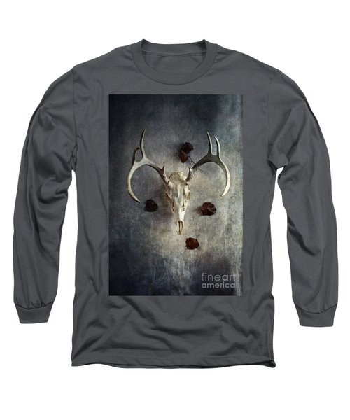 Long Sleeve T-Shirt featuring the photograph Deer Buck Skull With Fallen Leaves by Stephanie Frey