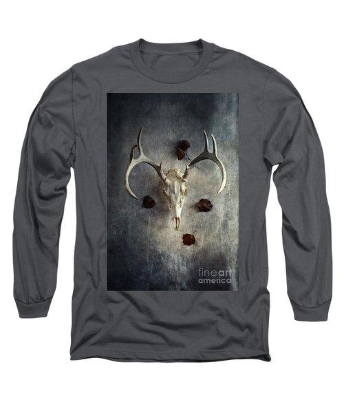 Deer Buck Skull With Fallen Leaves Long Sleeve T-Shirt by Stephanie Frey