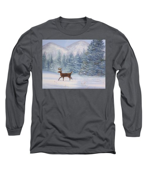 Deer In The Snow Long Sleeve T-Shirt