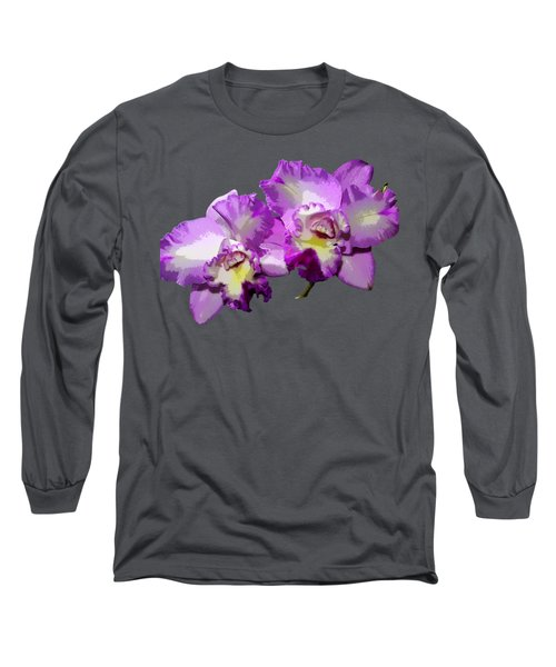 Delicate Purple Orchids Long Sleeve T-Shirt by Phyllis Denton