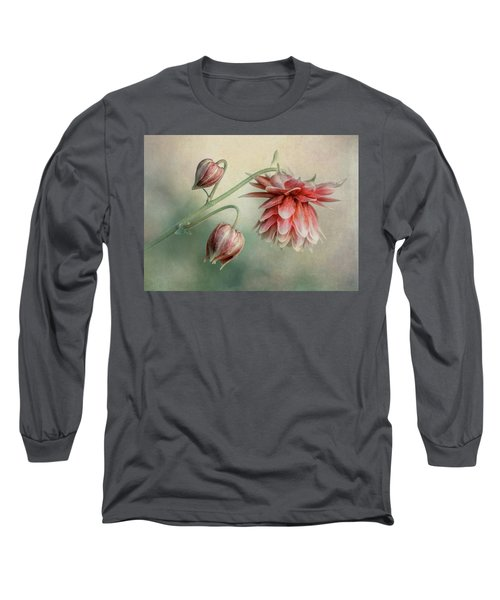 Delicate Red Columbine Long Sleeve T-Shirt