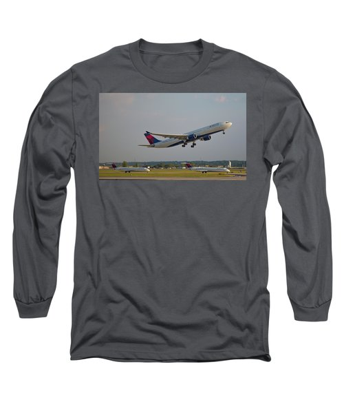 Delta Airlines Jet N827nw Airbus A330-300 Atlanta Airplane Art Long Sleeve T-Shirt