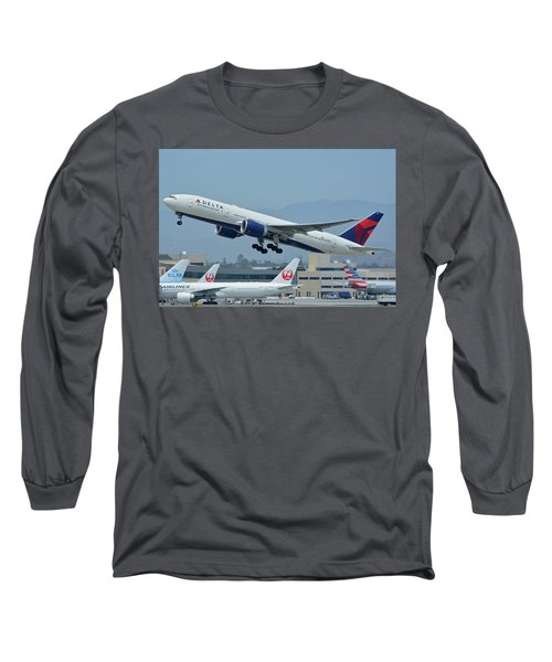 Long Sleeve T-Shirt featuring the photograph Delta Boeing 777-232lr N703dn Los Angeles International Airport May 3 2016 by Brian Lockett