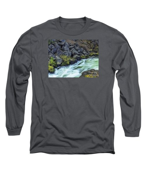 Long Sleeve T-Shirt featuring the photograph Deluge At The Falls by Nancy Marie Ricketts