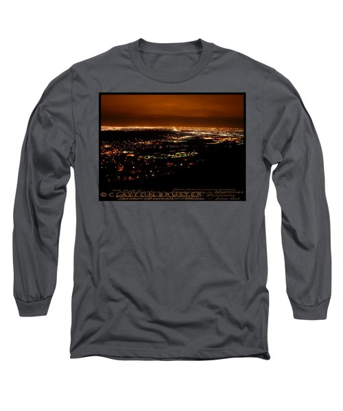 Denver Area At Night From Lookout Mountain Long Sleeve T-Shirt
