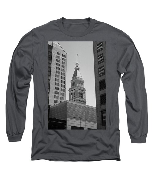 Denver - Historic D And F Clocktower 2 Bw Long Sleeve T-Shirt by Frank Romeo