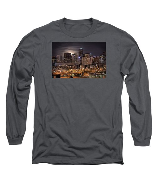 Denver Skyline At Night Long Sleeve T-Shirt by Juli Scalzi
