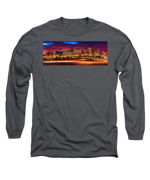 Denver Skyline Sunrise Long Sleeve T-Shirt
