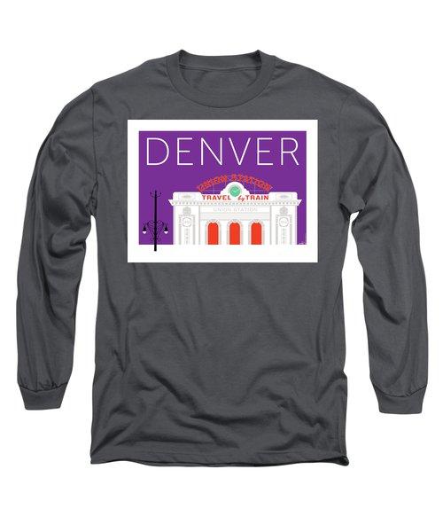 Denver Union Station/purple Long Sleeve T-Shirt