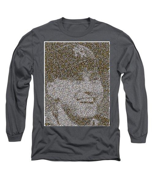 Long Sleeve T-Shirt featuring the mixed media Derek Jeter Baseballs Mosaic by Paul Van Scott
