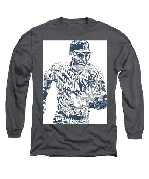 Derek Jeter New York Yankees Pixel Art 12 Long Sleeve T-Shirt
