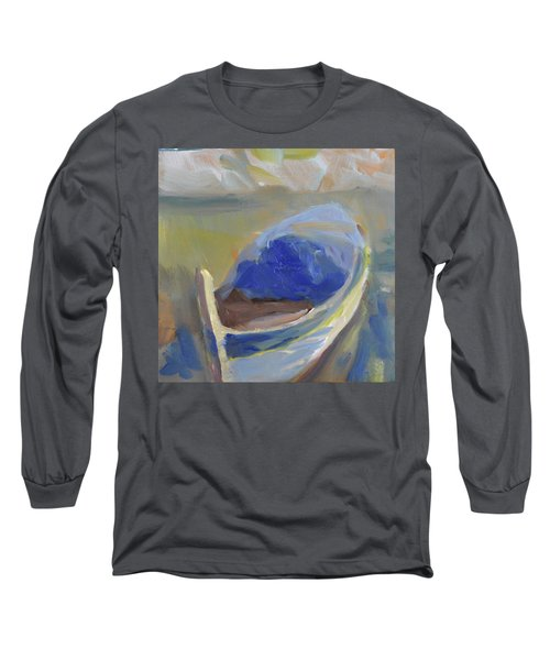 Long Sleeve T-Shirt featuring the painting Derek's Boat. by Julie Todd-Cundiff