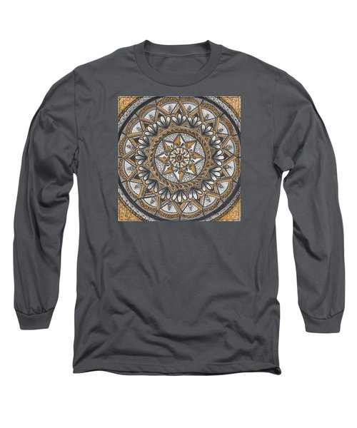 Des Tapestry In Gold-grey-black Long Sleeve T-Shirt by Kathy Sheeran