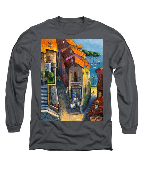 Long Sleeve T-Shirt featuring the painting Desenzano Del Garda by Mikhail Zarovny