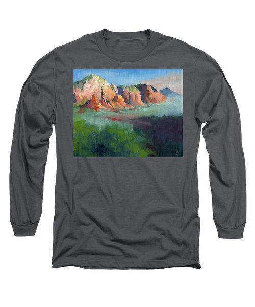 Desert Afternoon Mountains Sky And Trees Long Sleeve T-Shirt