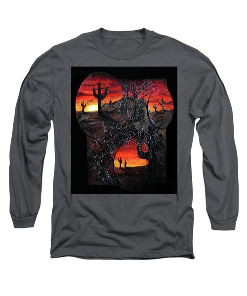 Long Sleeve T-Shirt featuring the mixed media Desert by Angela Stout