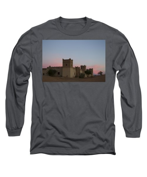 Long Sleeve T-Shirt featuring the tapestry - textile Desert Kasbah Morocco by Kathy Adams Clark