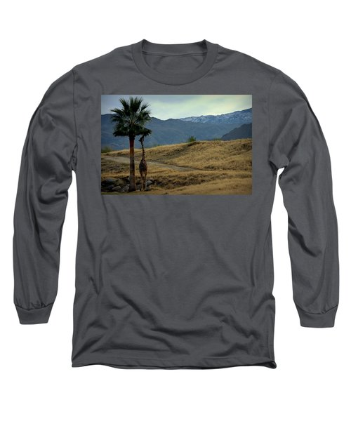 Desert Palm Giraffe 001 Long Sleeve T-Shirt