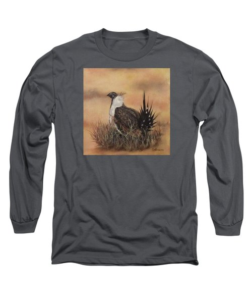 Long Sleeve T-Shirt featuring the painting Desert Sage Grouse by Roseann Gilmore