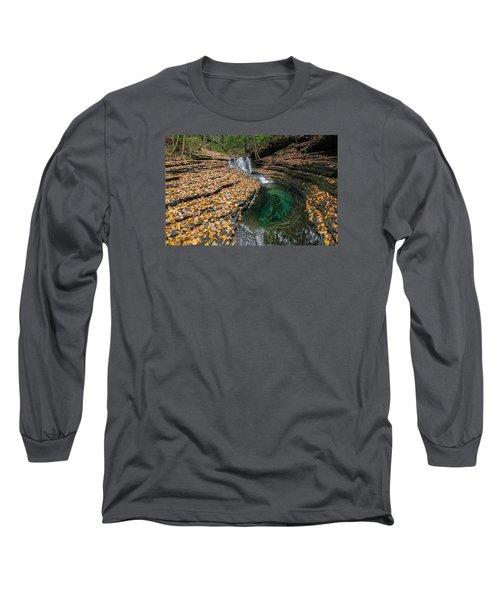 Devils Bathtub Cascade Long Sleeve T-Shirt by Serge Skiba