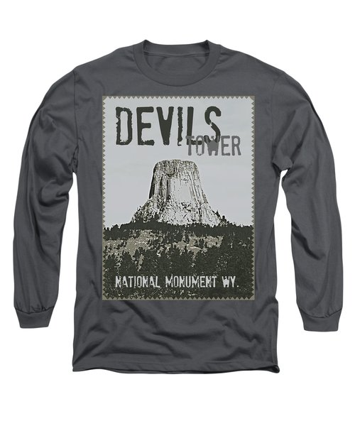Devils Tower Stamp Long Sleeve T-Shirt