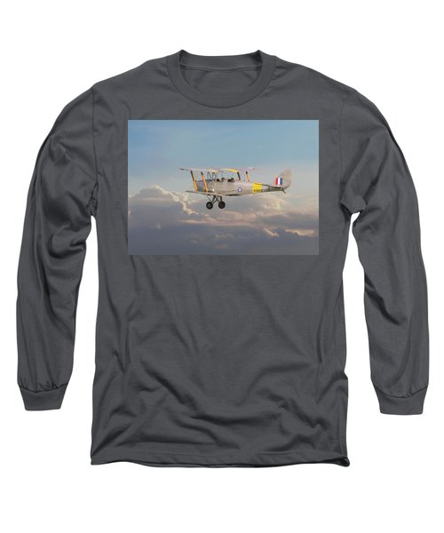 Long Sleeve T-Shirt featuring the digital art Dh Tiger Moth - 'first Steps' by Pat Speirs