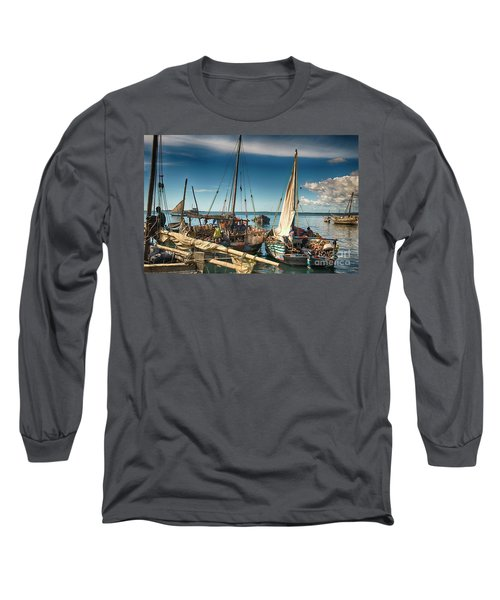 Dhow Sailing Boat Long Sleeve T-Shirt by Amyn Nasser