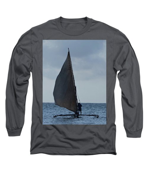 Dhow Wooden Boats In Sail Long Sleeve T-Shirt by Exploramum Exploramum