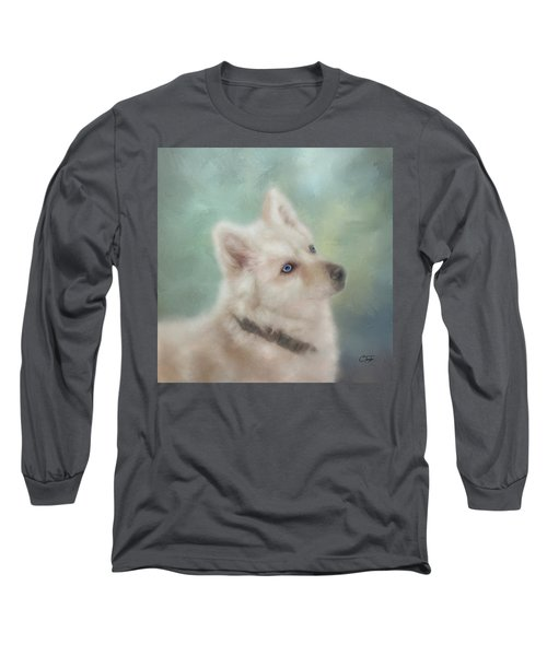 Long Sleeve T-Shirt featuring the mixed media Diamond, The White Shepherd by Colleen Taylor