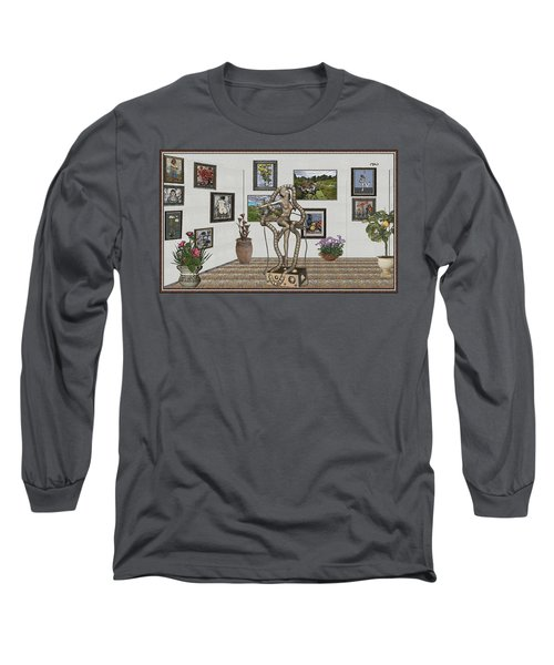 Long Sleeve T-Shirt featuring the mixed media Digital Exhibition _ Modern  Statue 1   Of Dancing Girl by Pemaro