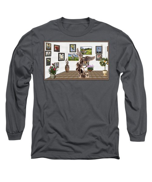 Long Sleeve T-Shirt featuring the mixed media digital exhibition _  sculpture of a Angels and Demons  by Pemaro