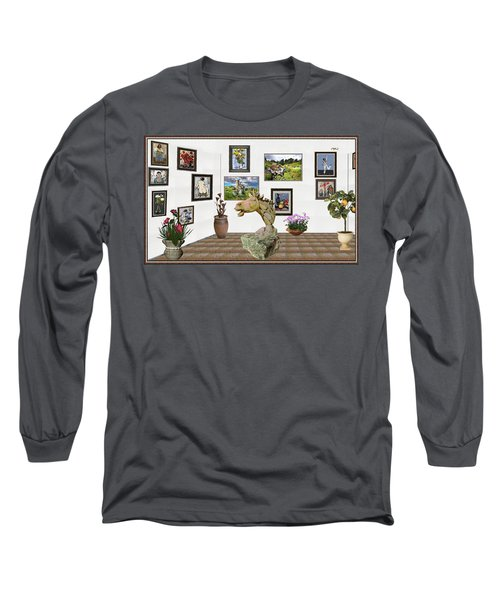 Long Sleeve T-Shirt featuring the mixed media Digital Exhibition _  Sculpture Of A Horse by Pemaro
