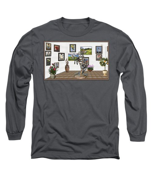 Long Sleeve T-Shirt featuring the mixed media Digital Exhibition _ Statue Of Branches by Pemaro