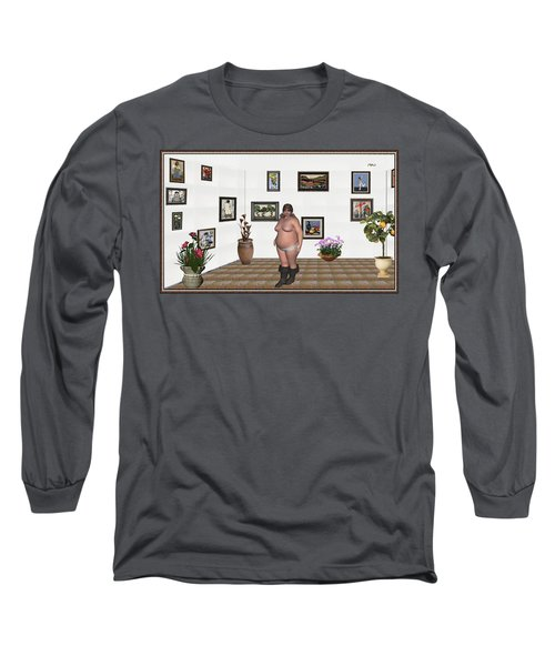 Long Sleeve T-Shirt featuring the mixed media Digital Exhibition  22 Of Posing Lady  by Pemaro