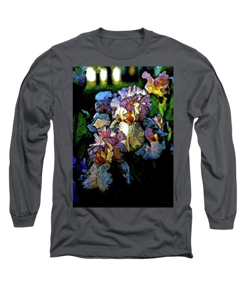 Digital Expressionist Painting Pale Pink Irises 6702 W_4 Long Sleeve T-Shirt