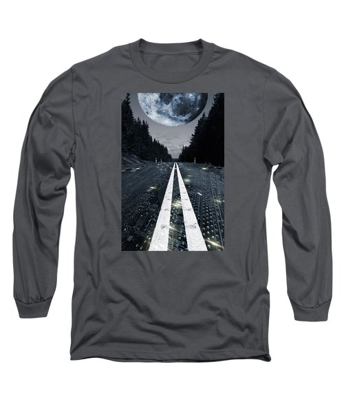 Digital Highway And A Full Moon Long Sleeve T-Shirt by Christian Lagereek