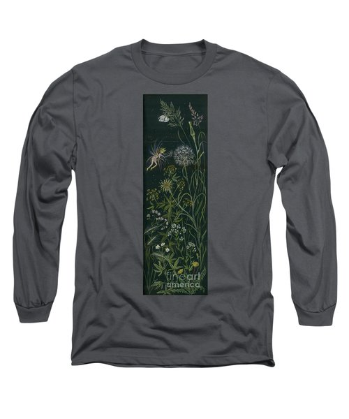 Long Sleeve T-Shirt featuring the drawing Ditchweed Fairy Grasses by Dawn Fairies